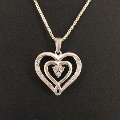 Sterling Silver Illusion Set Diamond Pendant Necklace