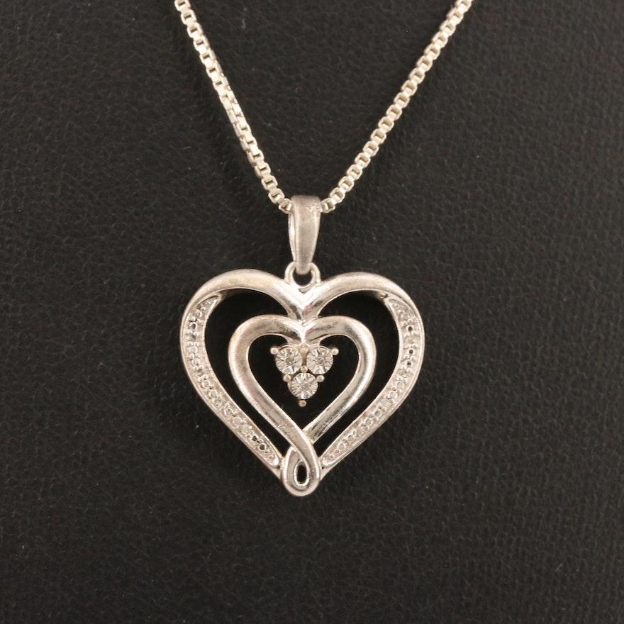Sterling Silver Illusion Set Diamond Pendant Necklace