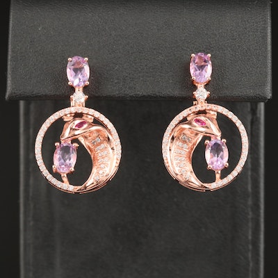 Sterling Amethyst and Cubic Zirconia Snake Drop Earrings
