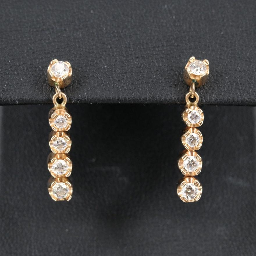 14K 1.00 CTW Graduated Diamond Drop Earrings