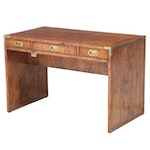Anthology Campaign Style Brass-Mounted Hardwood Desk with Lift-Top File Storage