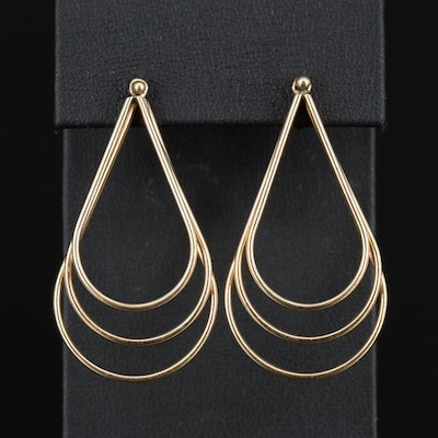 14K Teardrop Hoop Earrings