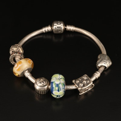Pandora Sterling Charm Bracelet with Murano Glass Charms