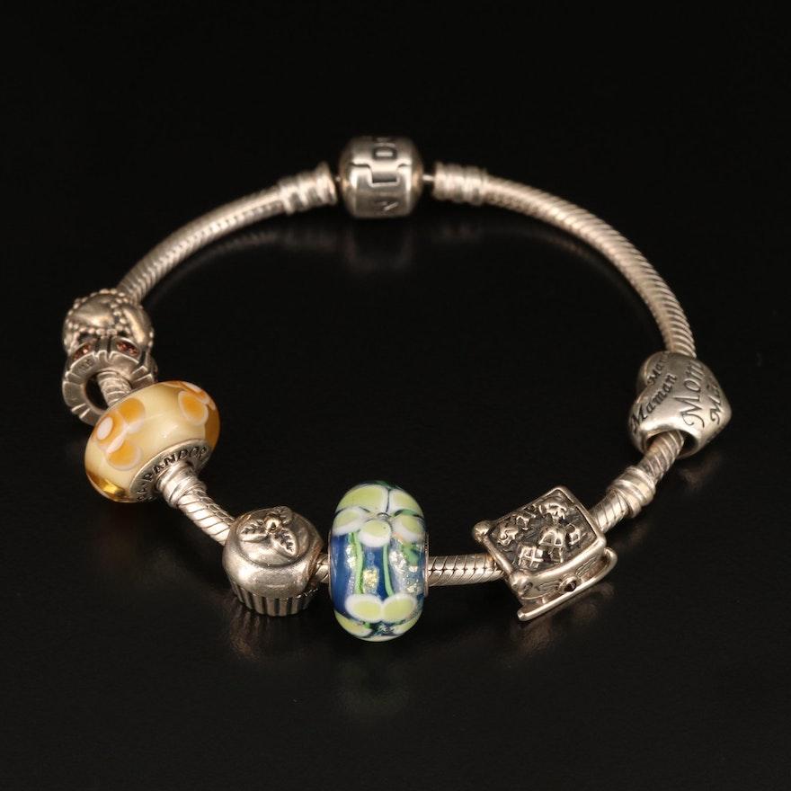 Pandora Sterling Charm Bracelet with Murano Glass Charms