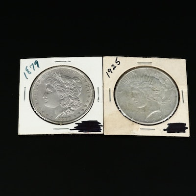 1879 Morgan Silver Dollar and 1925 Peace Silver Dollar