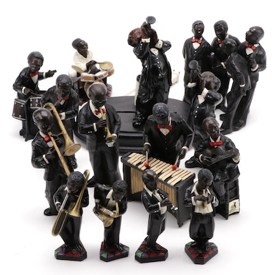 "Enesco ""All That Jazz"" Series Composite Musician Figurines, 1990s"