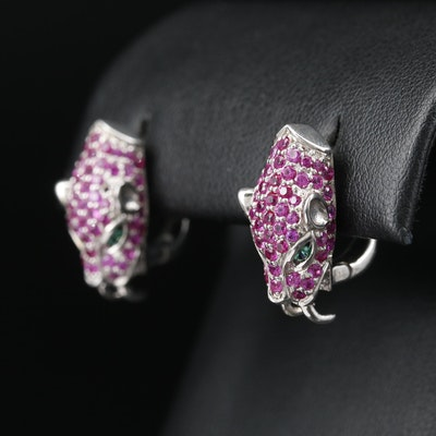 Sterling Ruby and Cubic Zirconia Panther Head Earrings