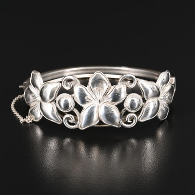 Sterling Silver Orchid Motif Hinged Bangle