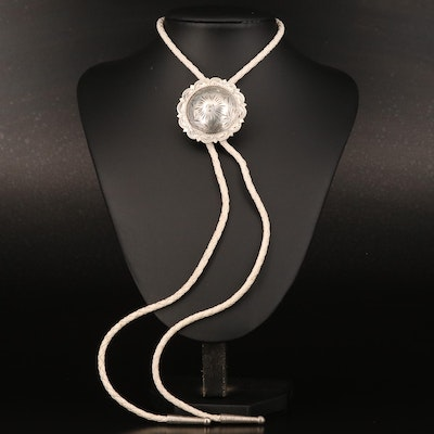 Concho Style Sterling Slide Pedant Bolo Tie