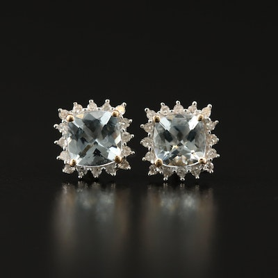 14K Aquamarine and Diamond Halo Stud Earrings