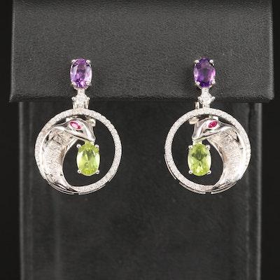 Sterling Silver Ruby, Peridot, Amethyst and Cubic Zirconia Cobra Earrings
