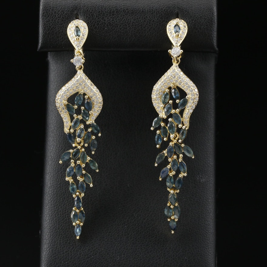 Sterling Sapphire and Topaz Dangle Earrings