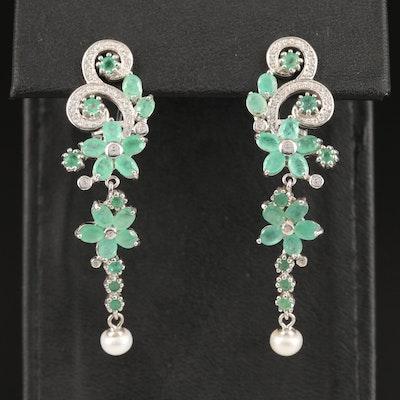 Sterling Silver Beryl and Cubic Zirconia Flower Motif Dangle Earrings