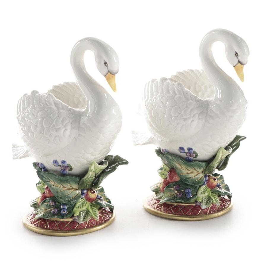 "Fitz and Floyd ""Holiday Swan"" Ceramic Candlesticks"