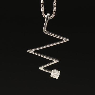 14K Heartbeat Pendant Necklace with Diamond Accent