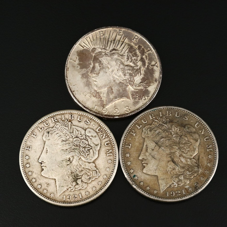 Two Morgan and One Peace Silver Dollar
