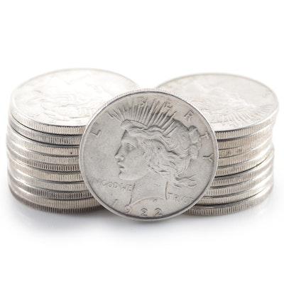 Twenty Peace Silver Dollars