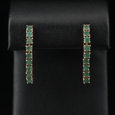 Sterling Silver Emerald Line Earrings