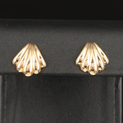 14K Palmette Stud Earrings