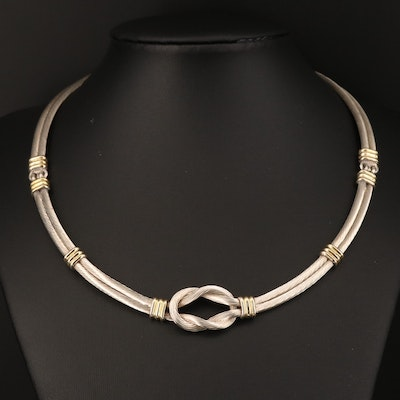 950 Silver Cable Knot Collar with 18K Accents