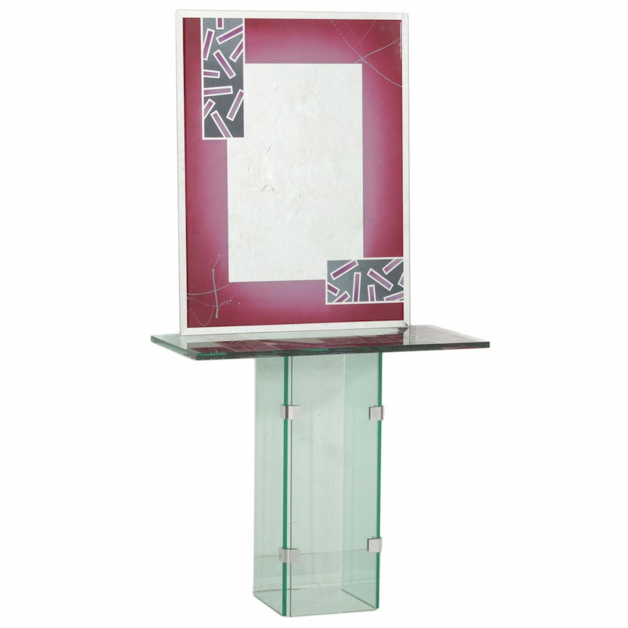 Joan Irving Abstract Glass Entryway Table, 1991 and Mirror, 1994