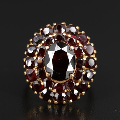 18K Double Halo Garnet Ring