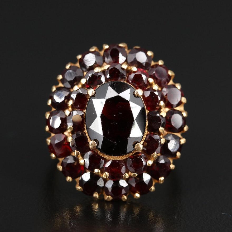 18K Double Halo Garnet Ring