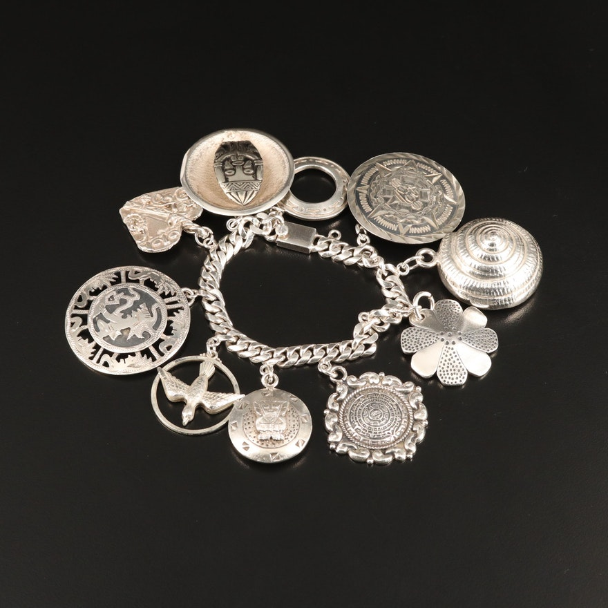 Mexican Sterling Silver Motif Charm Bracelet