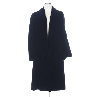 Black Velvet Opera Coat with Shawl Lapel Collar
