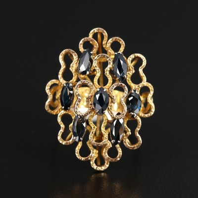 Circa 1970s 14K Marquise Faceted Sapphire Ring