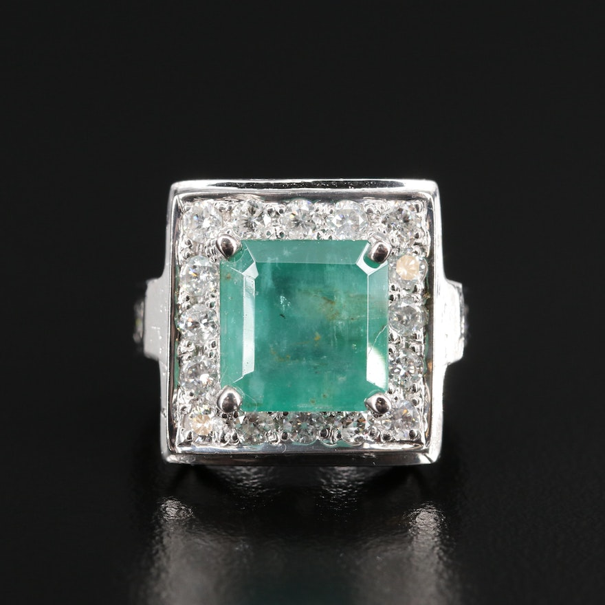 14K 3.54 CT Emerald and 1.10 CTW Diamond Ring