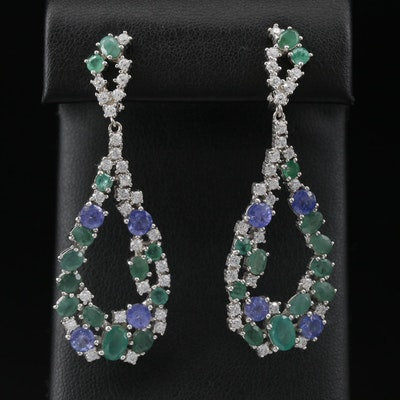 Sterling Silver Tanzanite, Beryl and Cubic Zirconia Dangle Earrings