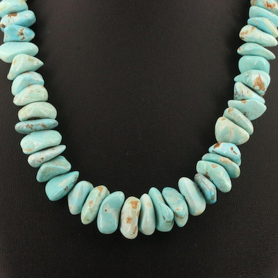 Turquoise Freeform Bead Necklace with Sterling Silver Clasp