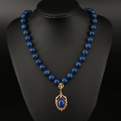 Vintage 14 K Lapis Lazuli and Pearl Pendant Necklace