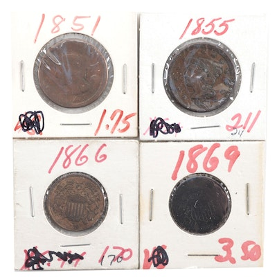 Two Large Cents and Two 2-Cent Shield Coins