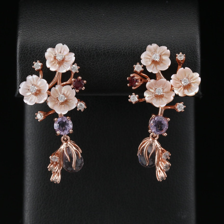 Sterling Silver Mother of Pearl, Garnet, and Cubic Zirconia Floral Earrings