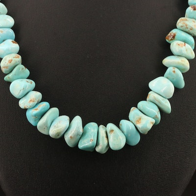 Turquoise and Shell Bead Necklace with Sterling Silver Clasp
