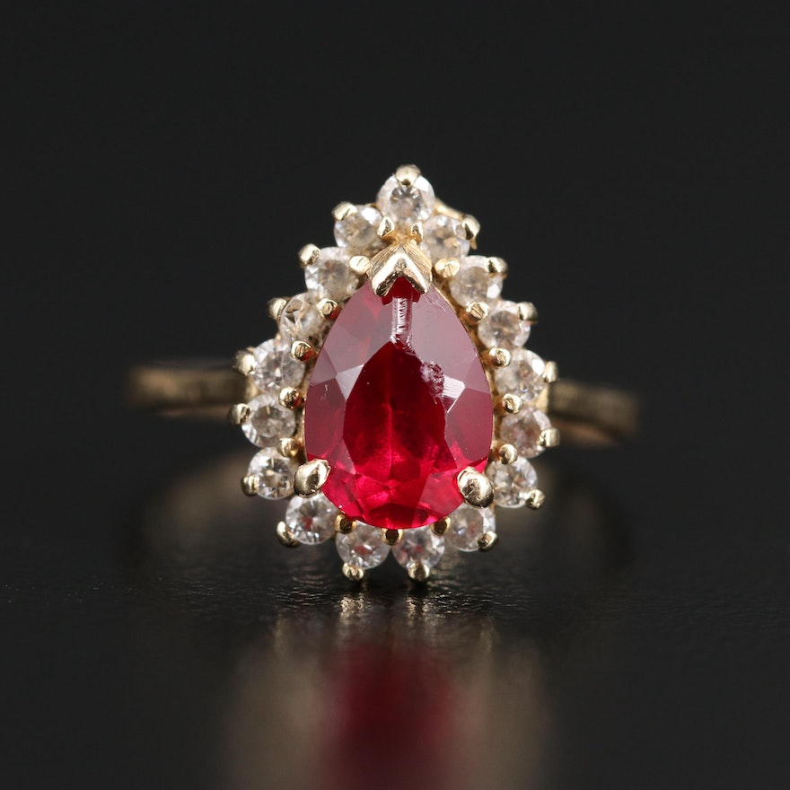 14K Ruby Ring with Cubic Zirconia Halo