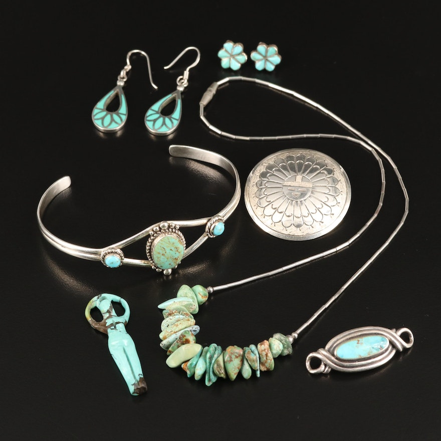 Southwestern Sterling Silver Turquoise Assorted Jewelry