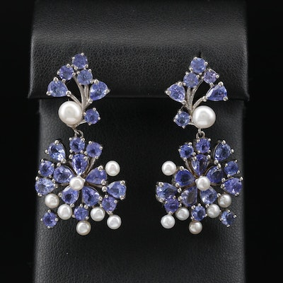 Sterling Tanzanite and Pearl Dangle Earrings
