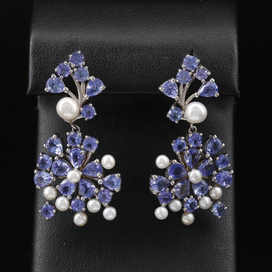 Sterling Tanzanite and Pearl Dangle Earrings