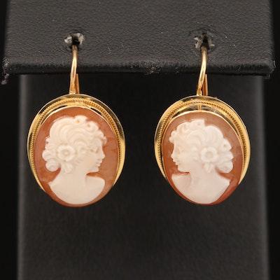 18K Carved Shell Cameo Earrings