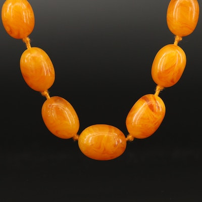Hand Knotted Amber Strand Necklace