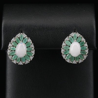 Sterling Silver Opal, Emerald and Cubic Zirconia Teardrop Earrings