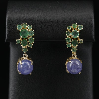 Sterling Tanzanite and Emerald Dangle Earrings