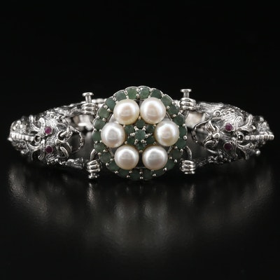 Sterling Pearl, Emerald, and Ruby Dragon Motif Bracelet