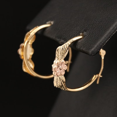 14K Flower Hoop Earrings with Rose Gold Accents