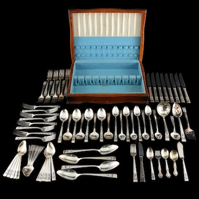 "Oneida Community Silver Plate ""Coronation"" and Other Flatware with Chest"