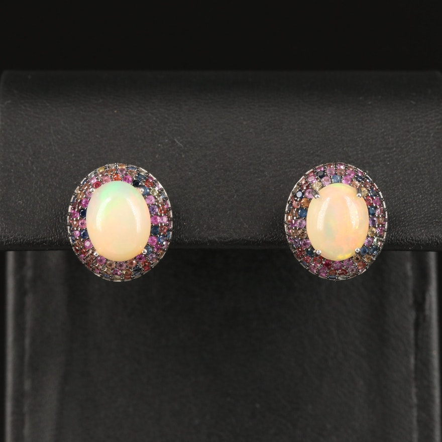 Sterling Opal and Sapphire Drop Earrings