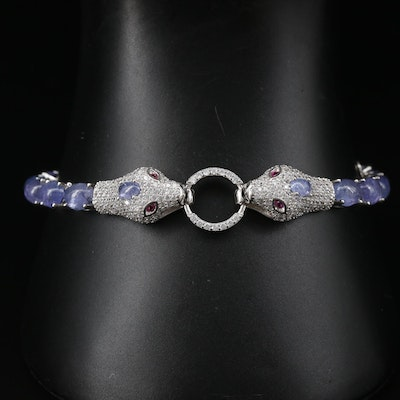 Sterling Tanzanite, Ruby and Cubic Zirconia Double Snake Head Bracelet